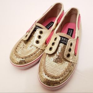 Sperry Cruiser Girls 13 Gold Sequin Boat Shoes